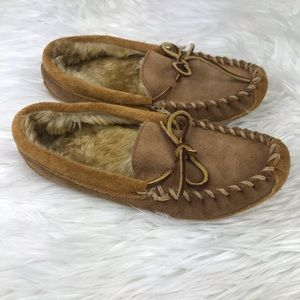 L.L. Bean Youth Moccasin Slippers Unisex Brown 3